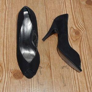 BCBGMaxAzria suede leather peep toe heels